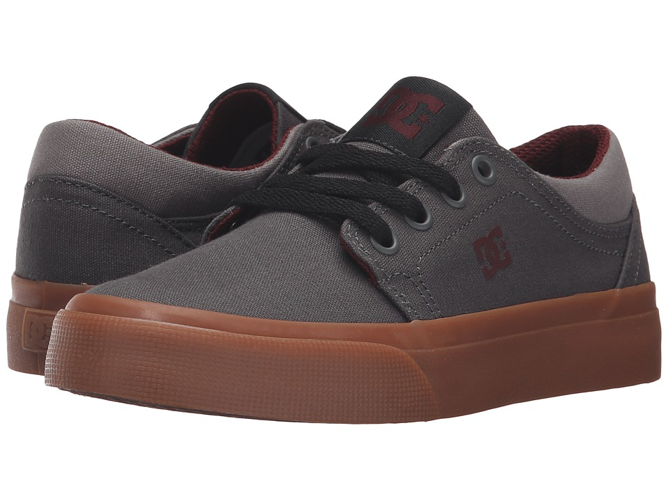 DC Kids - Trase TX (Little Kid) (Grey/Grey/Red) Boys Shoes