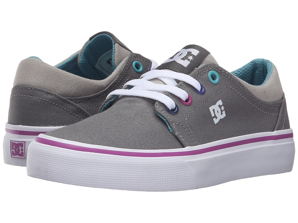 DC Kids - Trase TX (Little Kid) (Grey/Grey/Blue) Girls Shoes