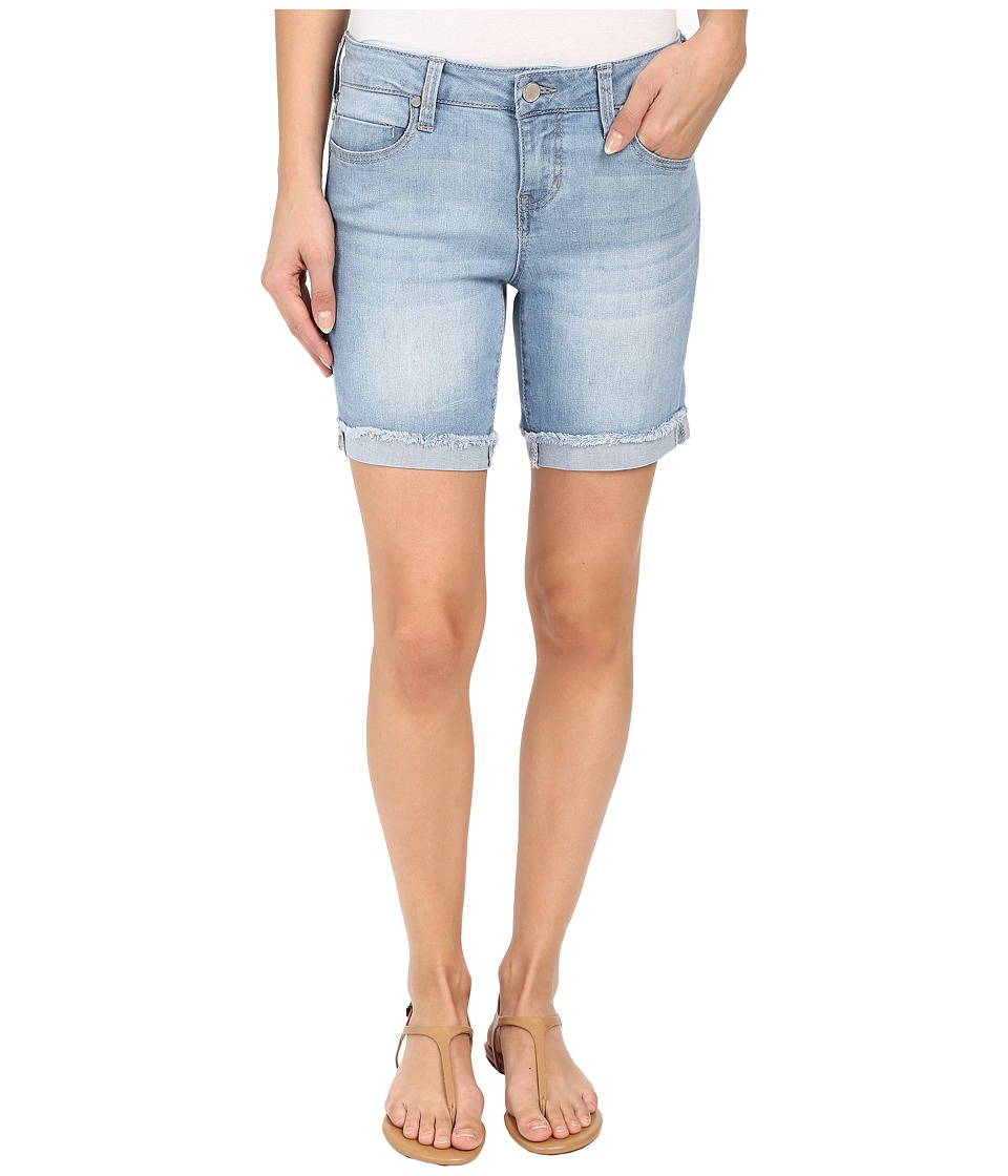 Liverpool - Corine Rolled Denim Shorts with Fringe Hem in Belmont Beach Blue (Belmont Beach Blue) Womens Shorts