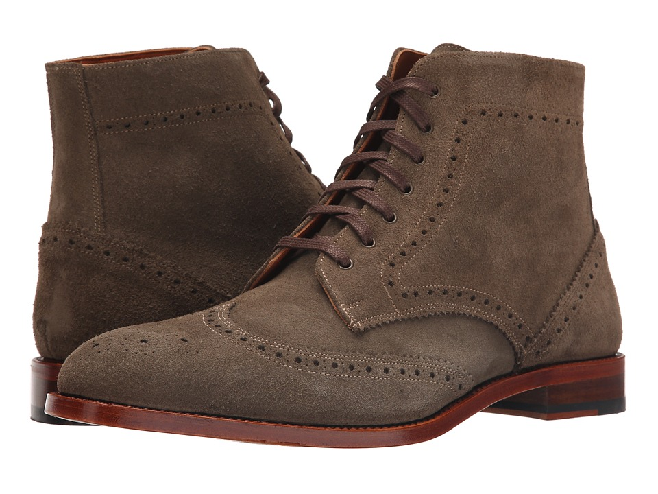 Crosby Square Knightsbridge Olive Suede Mens Lace up Boots