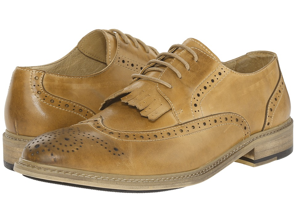 PRIVATE STOCK Vintage Wingtip with Kiltie Camel Mens Shoes