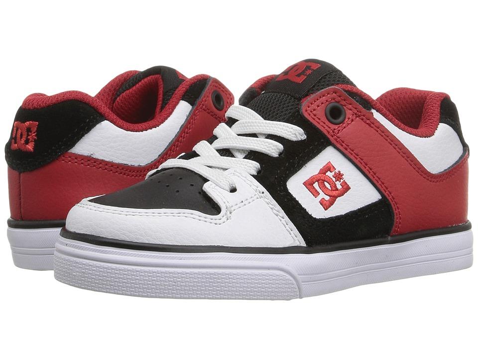 DC Kids - Pure Elastic (Little Kid) (White/Black/Red) Boys Shoes