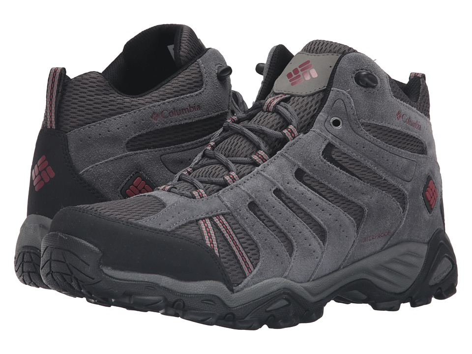 Columbia North Plains II Waterproof Mid (Dark Grey/Garnet Red) Men