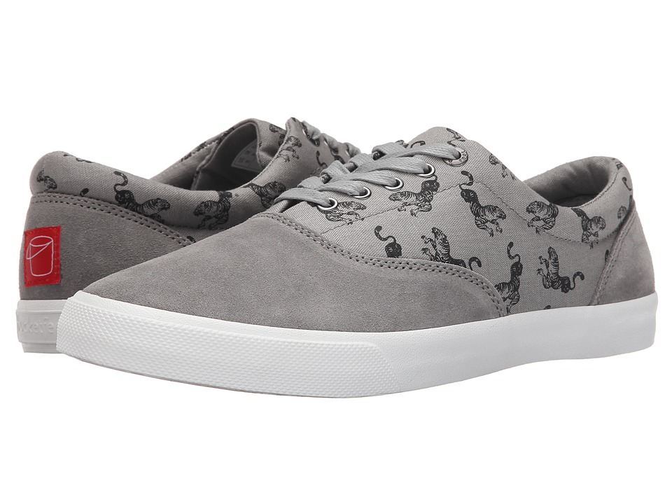BucketFeet Tiger Grey Mens Lace up casual Shoes