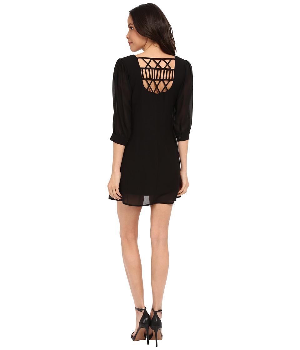 Brigitte Bailey Cesena Lattice Shift Dress Black Womens Dress