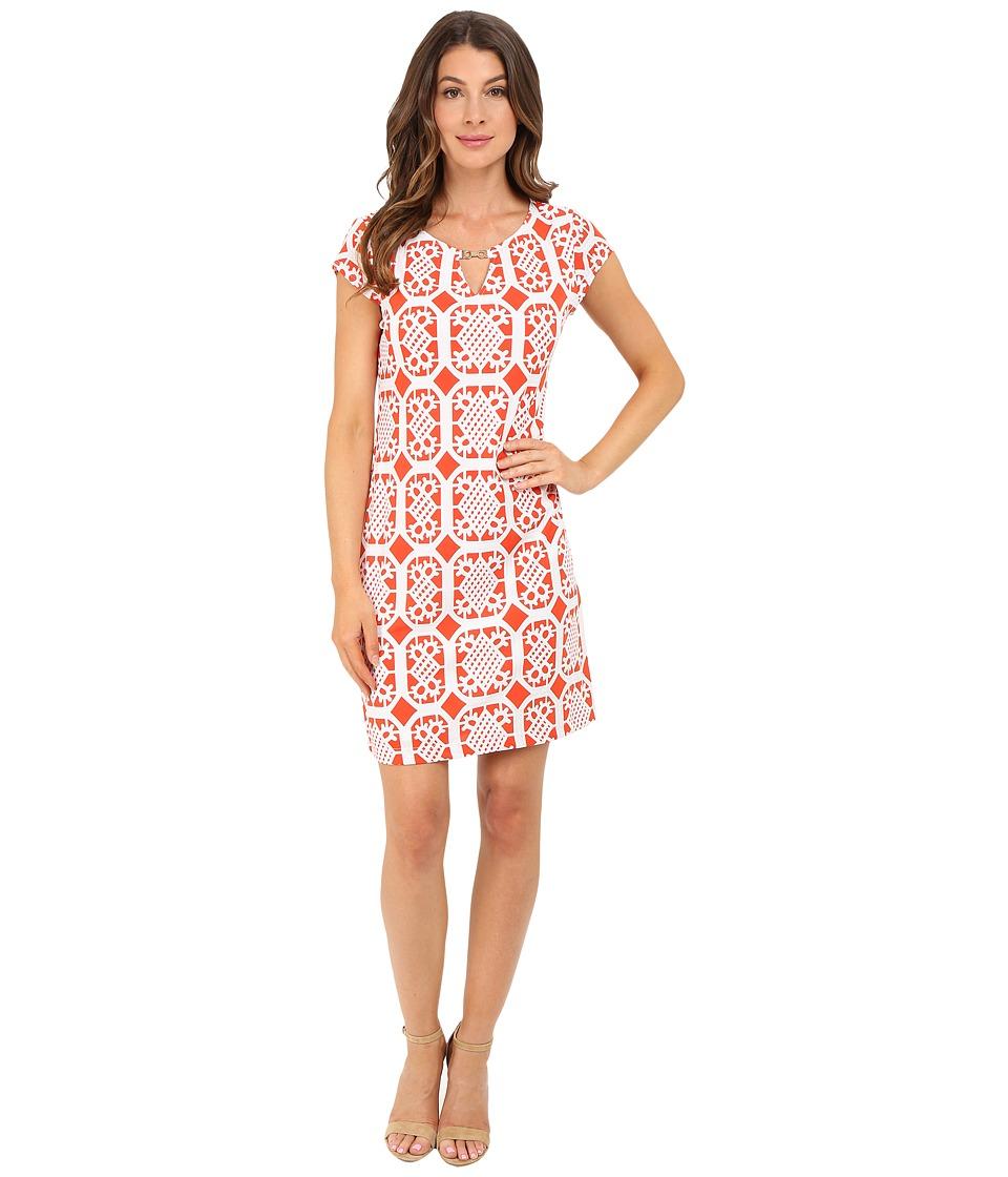 Christin Michaels Anton Dress Orange/White Womens Dress