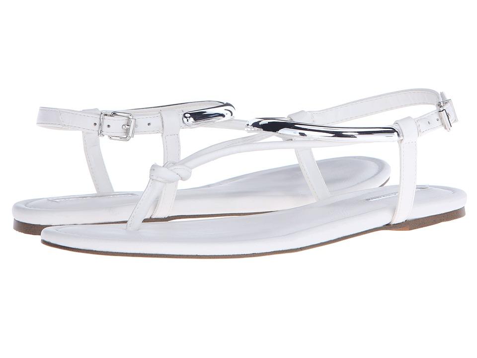 BCBGeneration Frida White Crosta Leather Womens Sandals