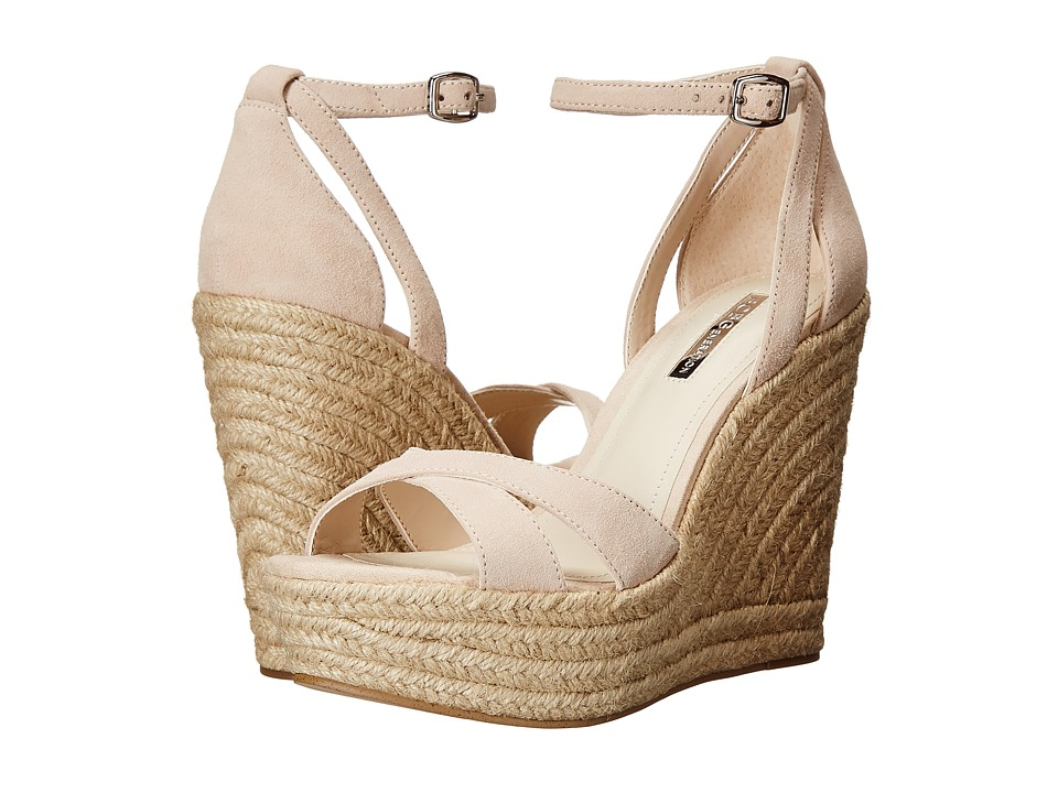 BCBGeneration Holly Nude Blush Kid Suede Womens Wedge Shoes
