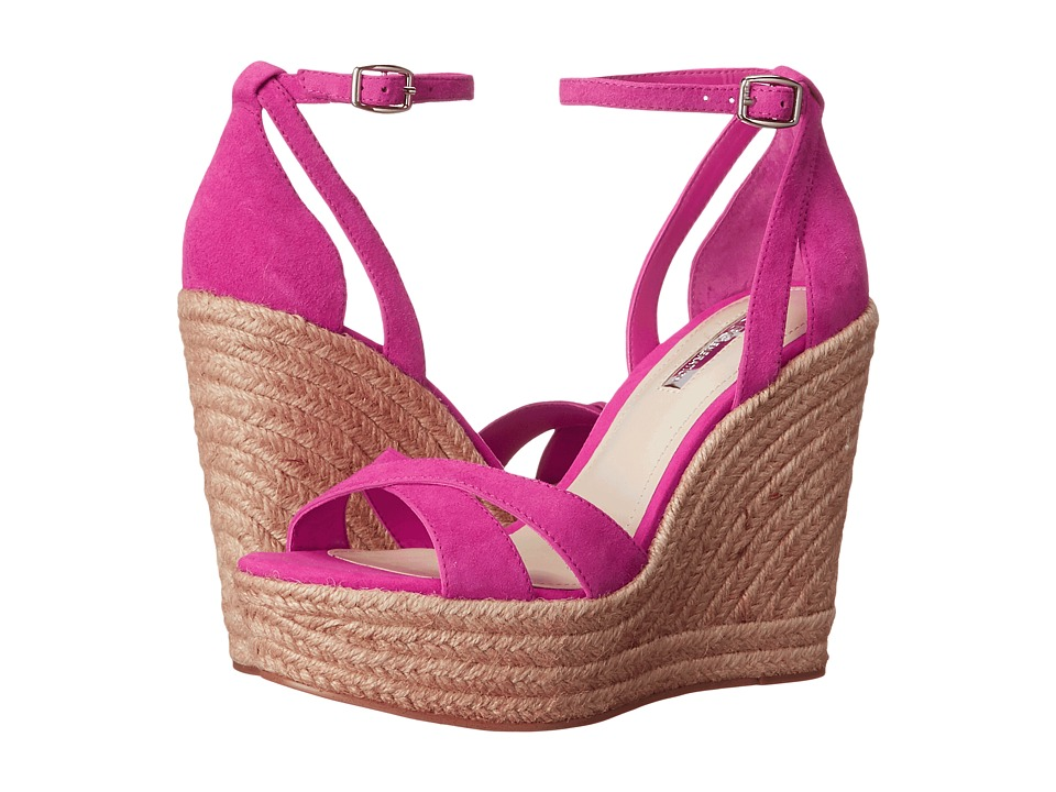 BCBGeneration Holly Flash Pink Kid Suede Womens Wedge Shoes