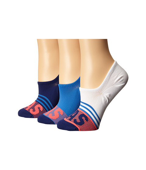 adidas adiStripe 3-Pack Super No Show - White/Ray Blue/Unity Ink Purple/Shock Red