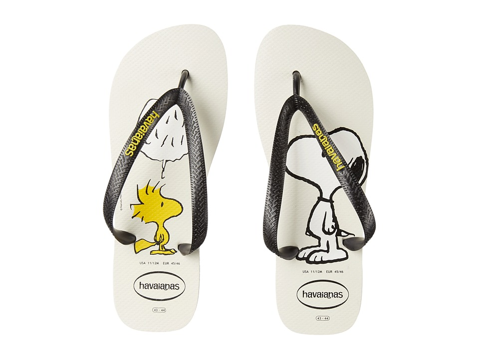 Havaianas Snoopy Flip Flops White/Black Mens Sandals