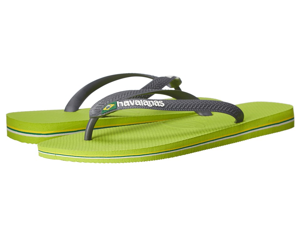 Havaianas Brazil Logo Flip Flops Lemon Green/Grey Mens Sandals