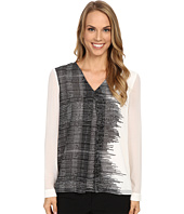 Calvin Klein - Long Sleeve Printed Invert Pleat Blouse
