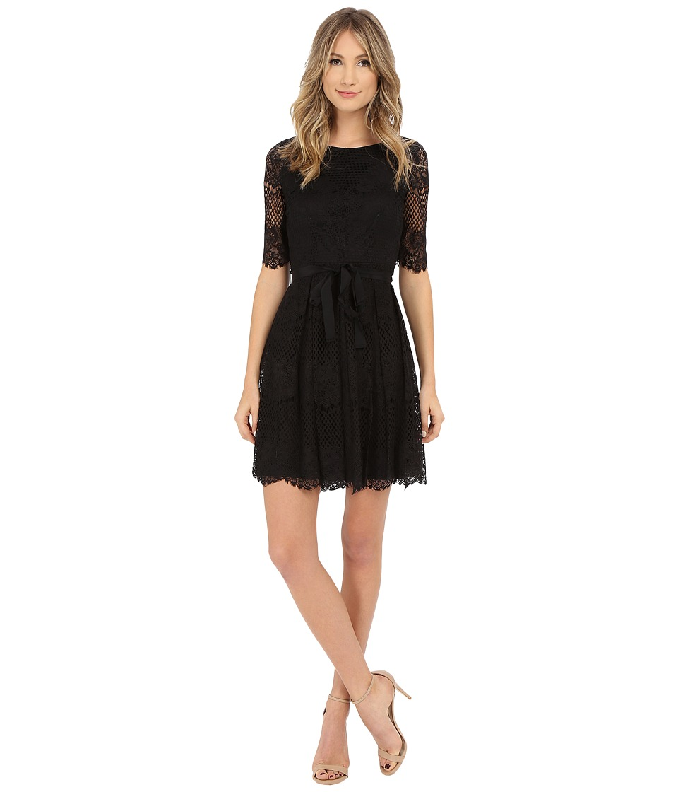 Jessica Simpson 3/4 Novelity Lace Dress with Self Sash Black Womens Dress