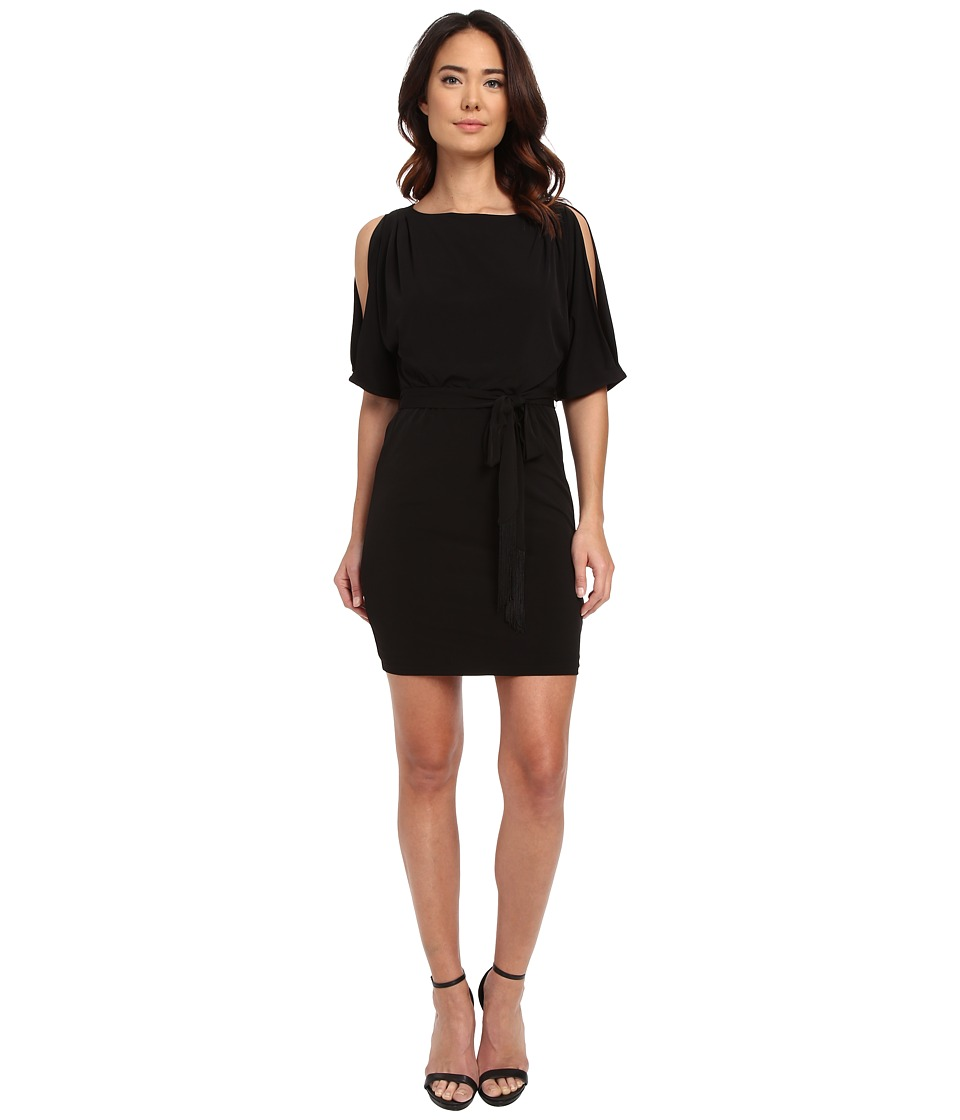 Jessica Simpson Boat Neck Ity Dress with Self Sash Black Womens Dress