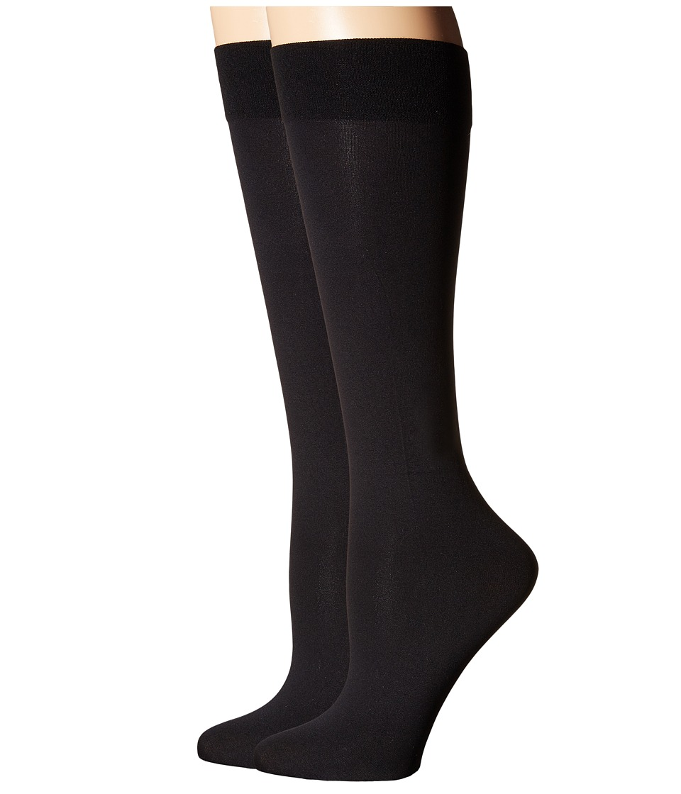 Cole Haan - 2-Pack Solid Knee Highs (Black) Women
