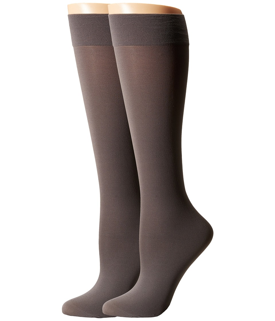 Cole Haan - 2-Pack Solid Knee Highs (Storm Cloud) Women