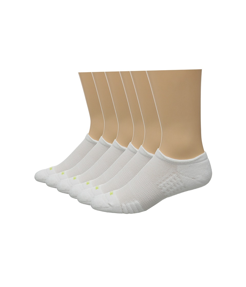 HUE Air Cushion 6 Pair Pack No Show 3D Sole White/White Womens No Show Socks Shoes
