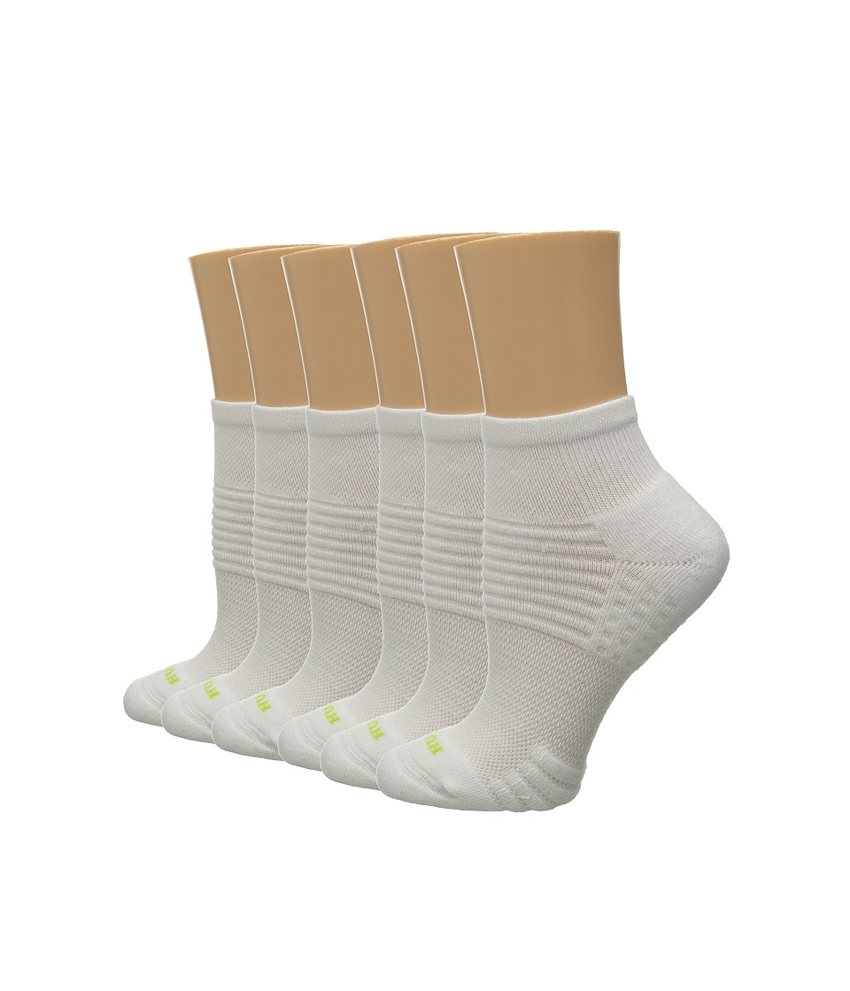 HUE Air Cushion 6 Pair Pack Quarter Top 3D Sole White/White Womens Quarter Length Socks Shoes