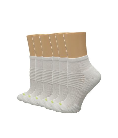 HUE Air Cushion 6-Pair Pack Quarter Top 3D Sole - White/White
