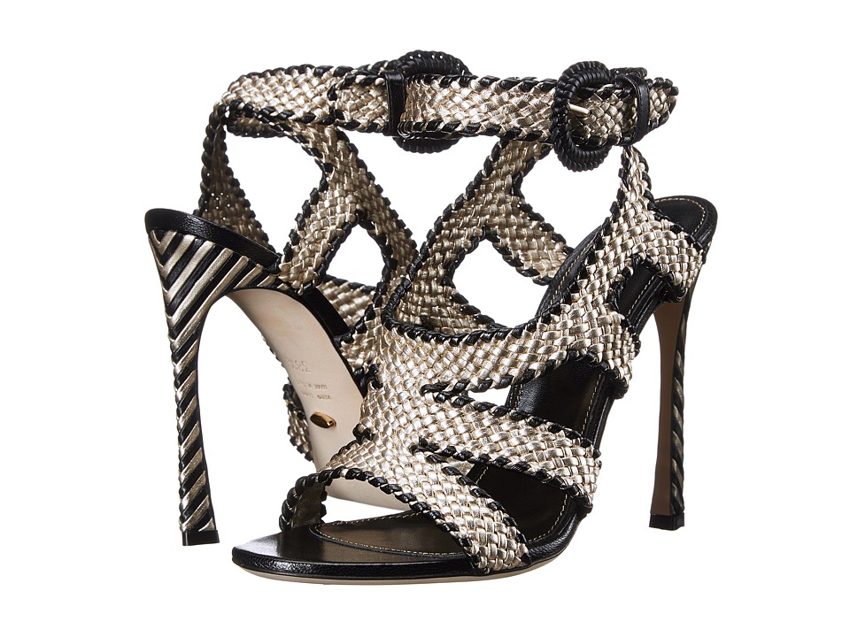 Sergio Rossi Antibes Platinum/Black Braided Leather High Heels