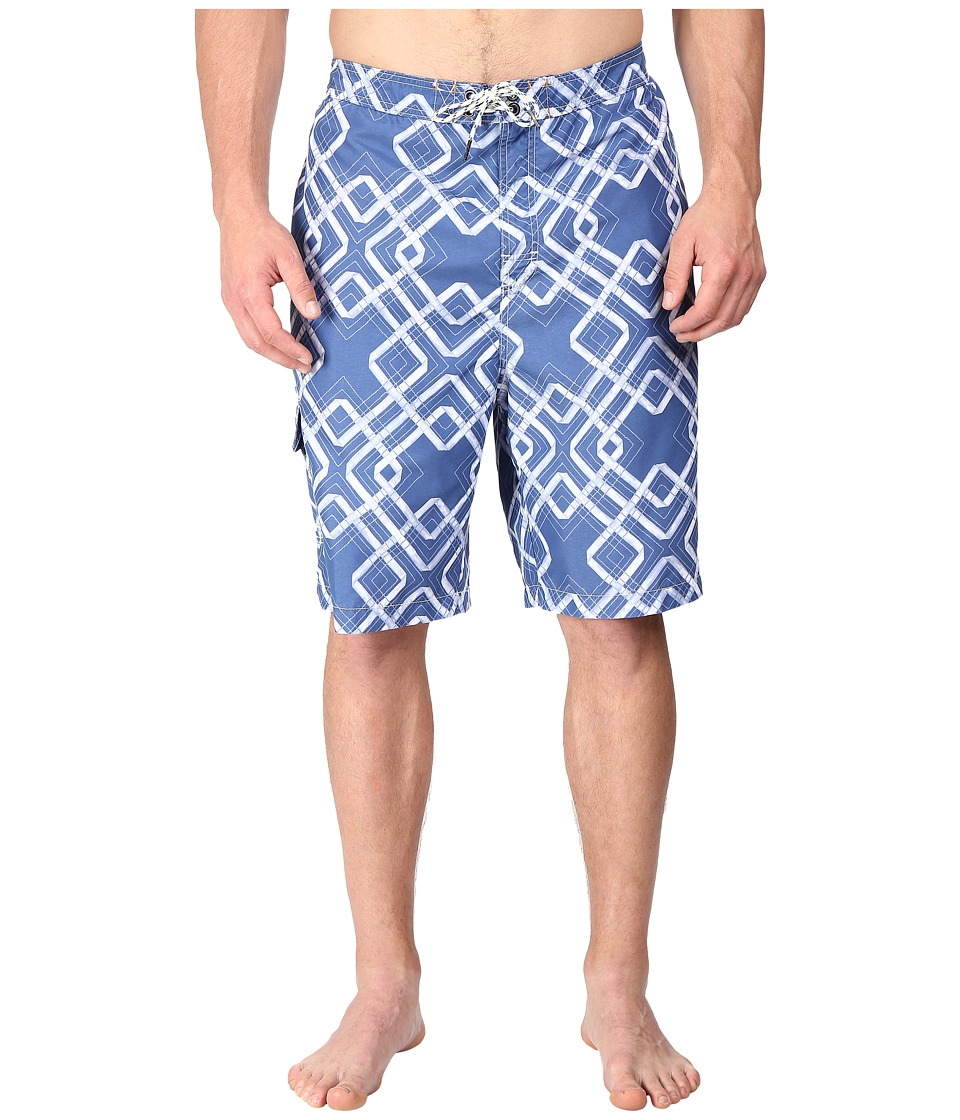 Tommy Bahama Big amp Tall Big Tall Baja Rockford Tiles Swim Trunk Dockside Blue Mens Swimwear
