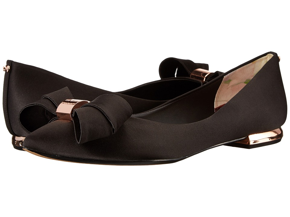 Ted Baker Ilebdi Black Satin Womens Dress Flat Shoes