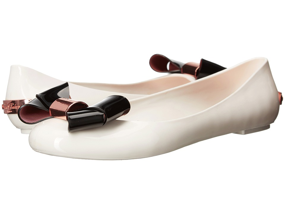 Ted Baker Faiyte Cream/Black Synthetic Womens Dress Flat Shoes
