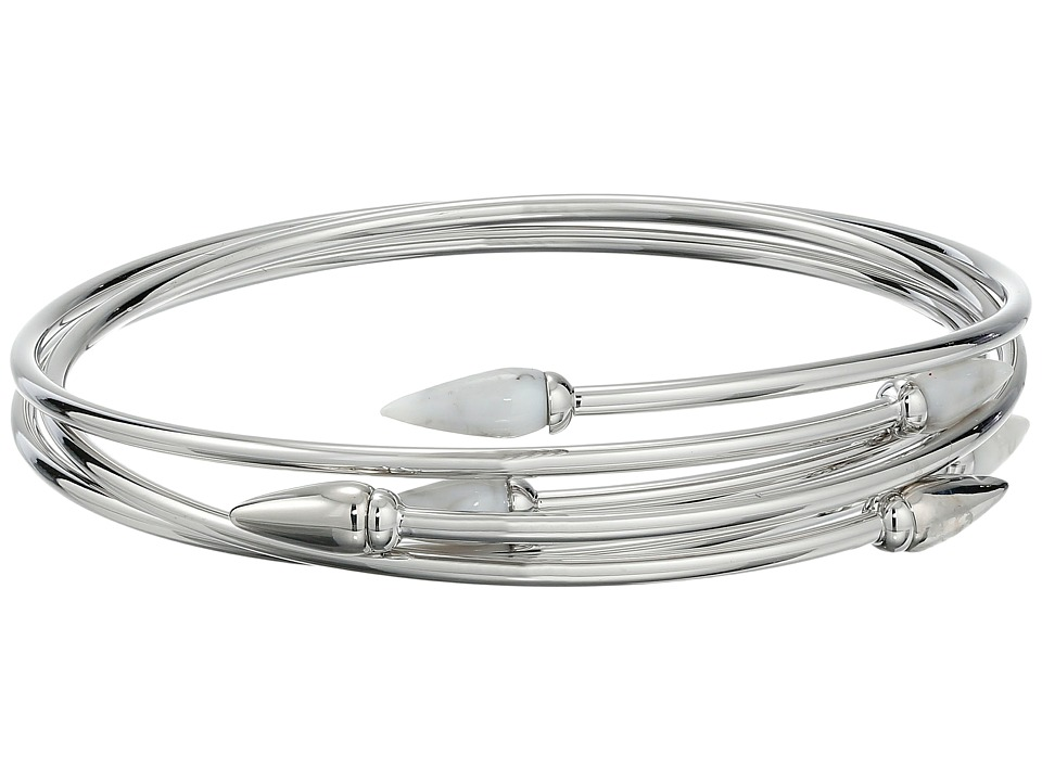 Vince Camuto Sculptural Flex Bracelet Light Rhodium/White Swirl Bracelet