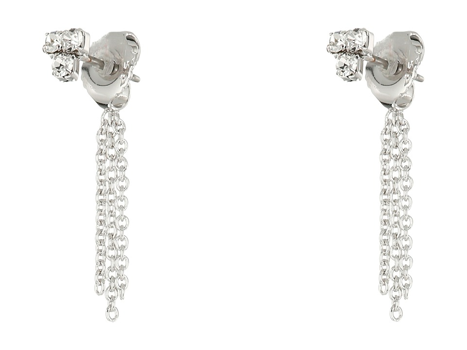 Vince Camuto Tri Cluster Stones Chain Stud Earrings Light Rhodium/Crystal Earring
