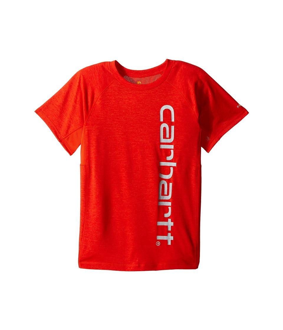 Carhartt Kids Force Pieced Raglan Tee Big Kids Orange.com Heather Boys Short Sleeve Pullover