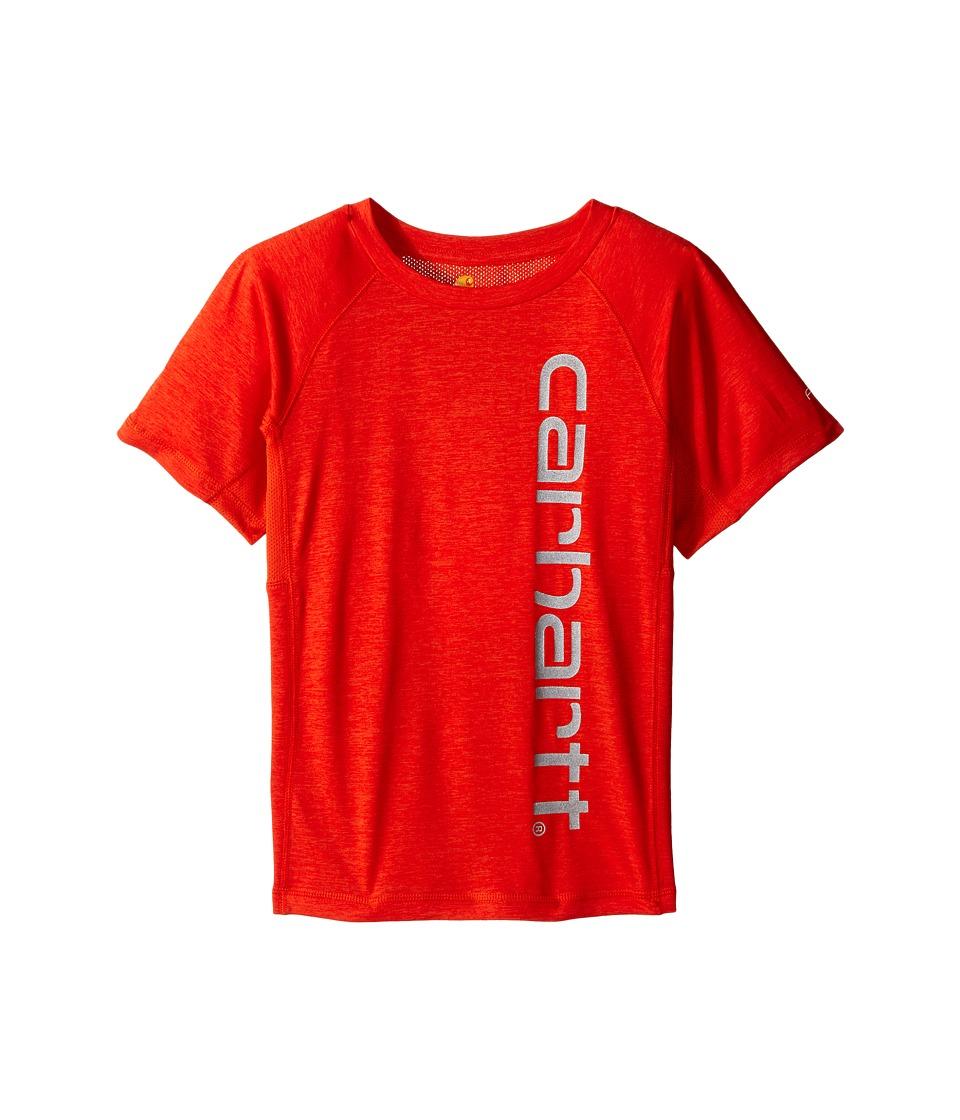 Carhartt Kids Force Pieced Raglan Tee Toddler/Little Kids Orange.com Heather Boys Short Sleeve Pullover