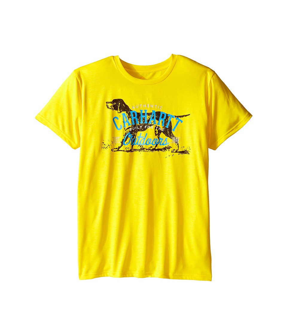 Carhartt Kids Outdoors Force Tee Big Kids Cyber Yellow Boys Short Sleeve Pullover