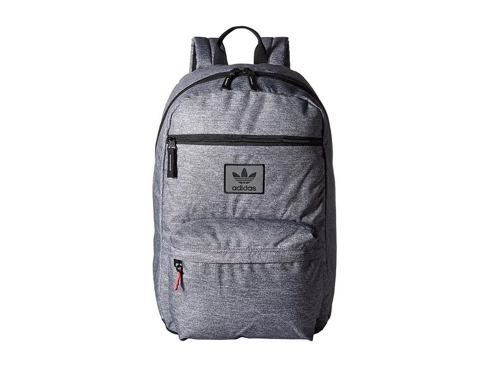 adidas - Originals National Backpack (Heather Granit/Black/Yellow) Backpack Bags