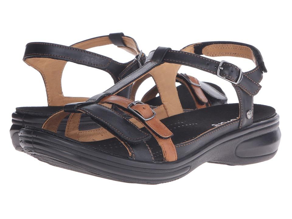 Revere Milan Black/Tan Womens Flat Shoes