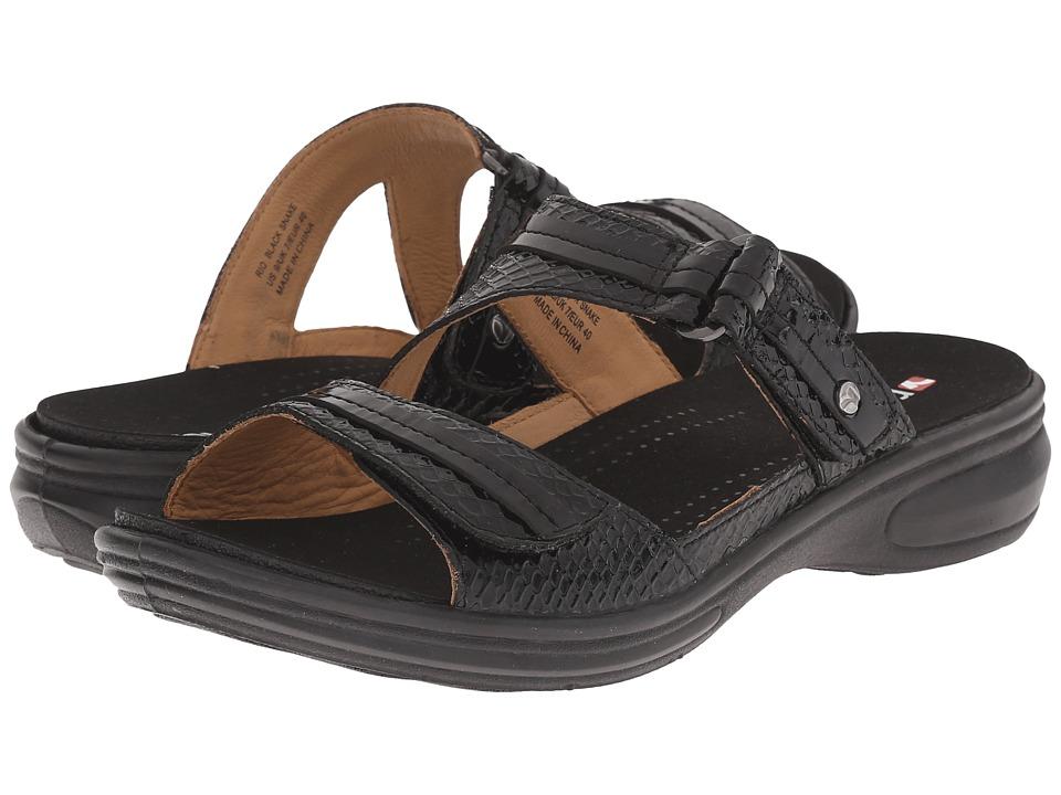 Revere Rio Black Snake Womens Flat Shoes