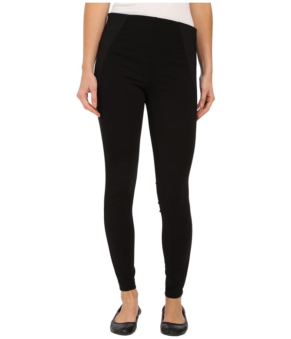 HUE High Waist Illusion Ponte Leggings Black Womens Casual Pants