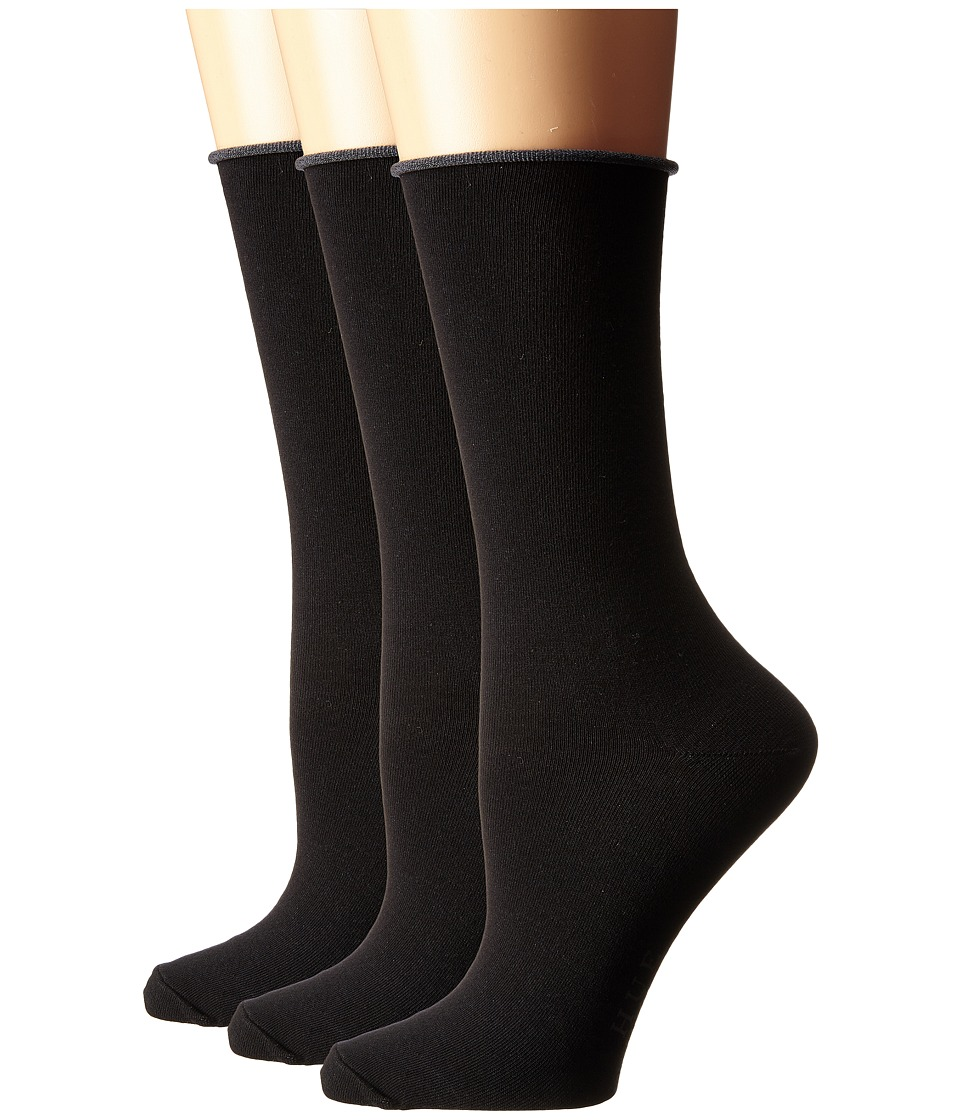HUE - Jean Socks 3-Pack (Black Solids) Womens Crew Cut Socks Shoes