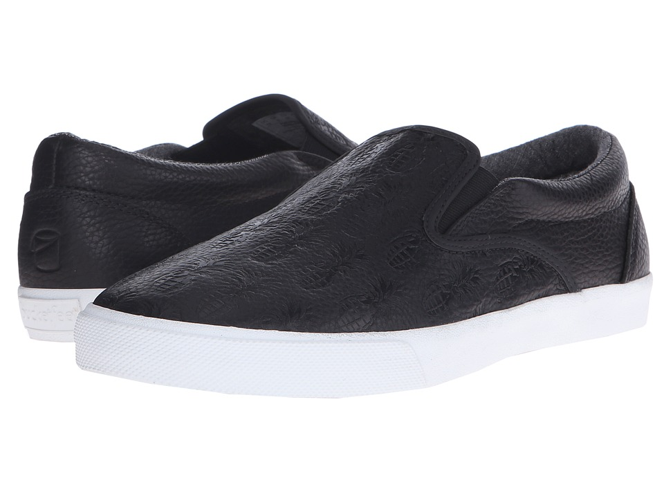 BucketFeet Pineappleade Black Leather Mens Slip on Shoes