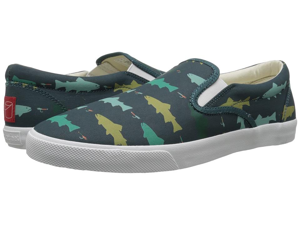 BucketFeet Hookin Brookies Deep Teal Mens Slip on Shoes