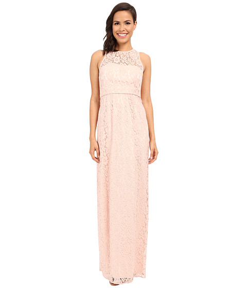 Donna Morgan Harper Illusion Neck Lace Long Gown - Pearl Pink