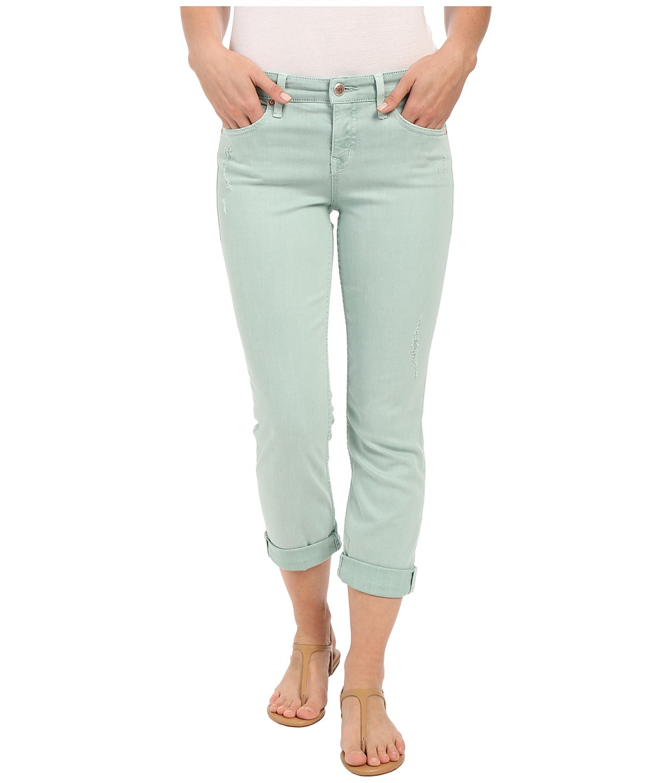 Level 99 Lily Mid Rise Crop Rollup in Mint Destruction Mint Destruction Womens Jeans