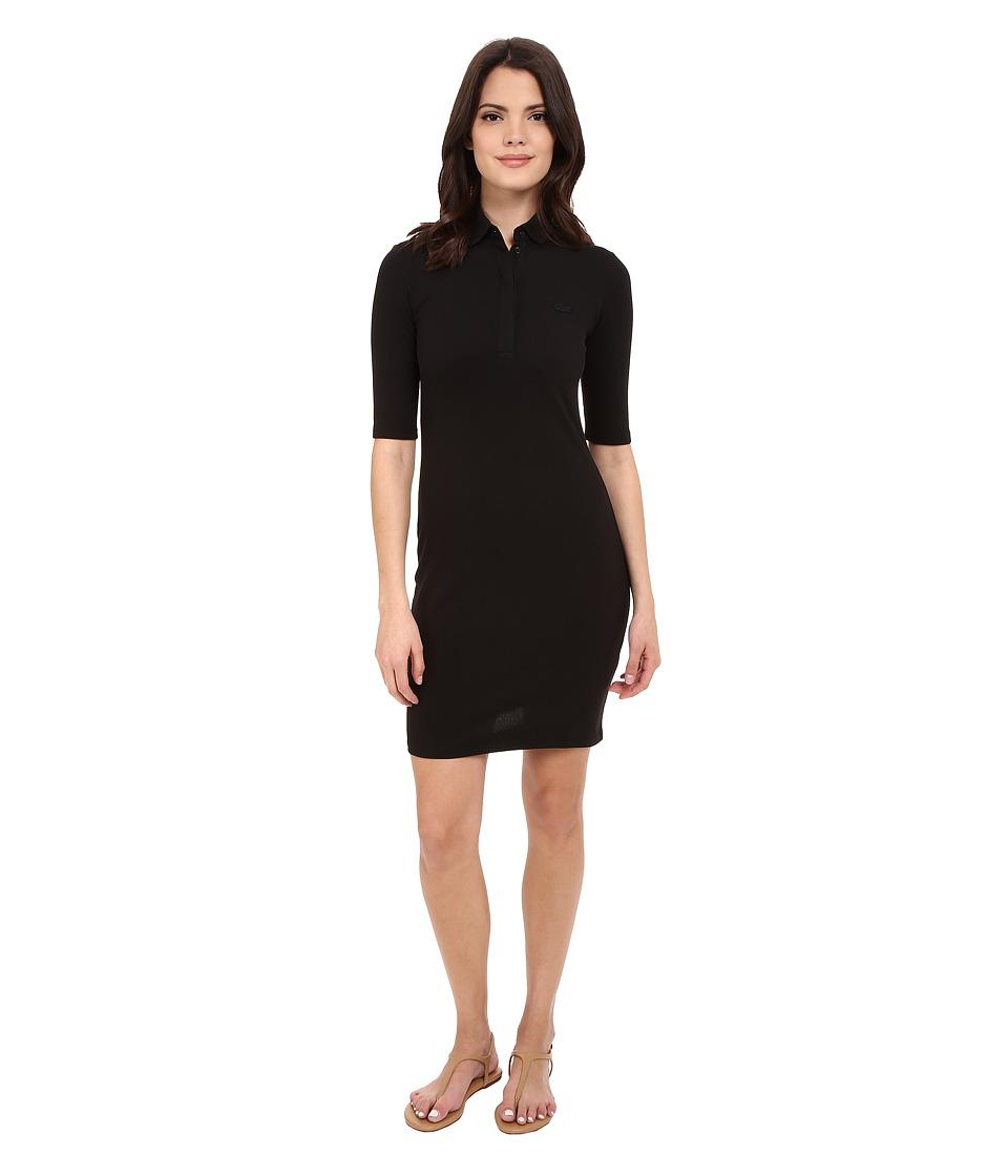 Lacoste Half Sleeve Pique Polo Dress Black Womens Dress