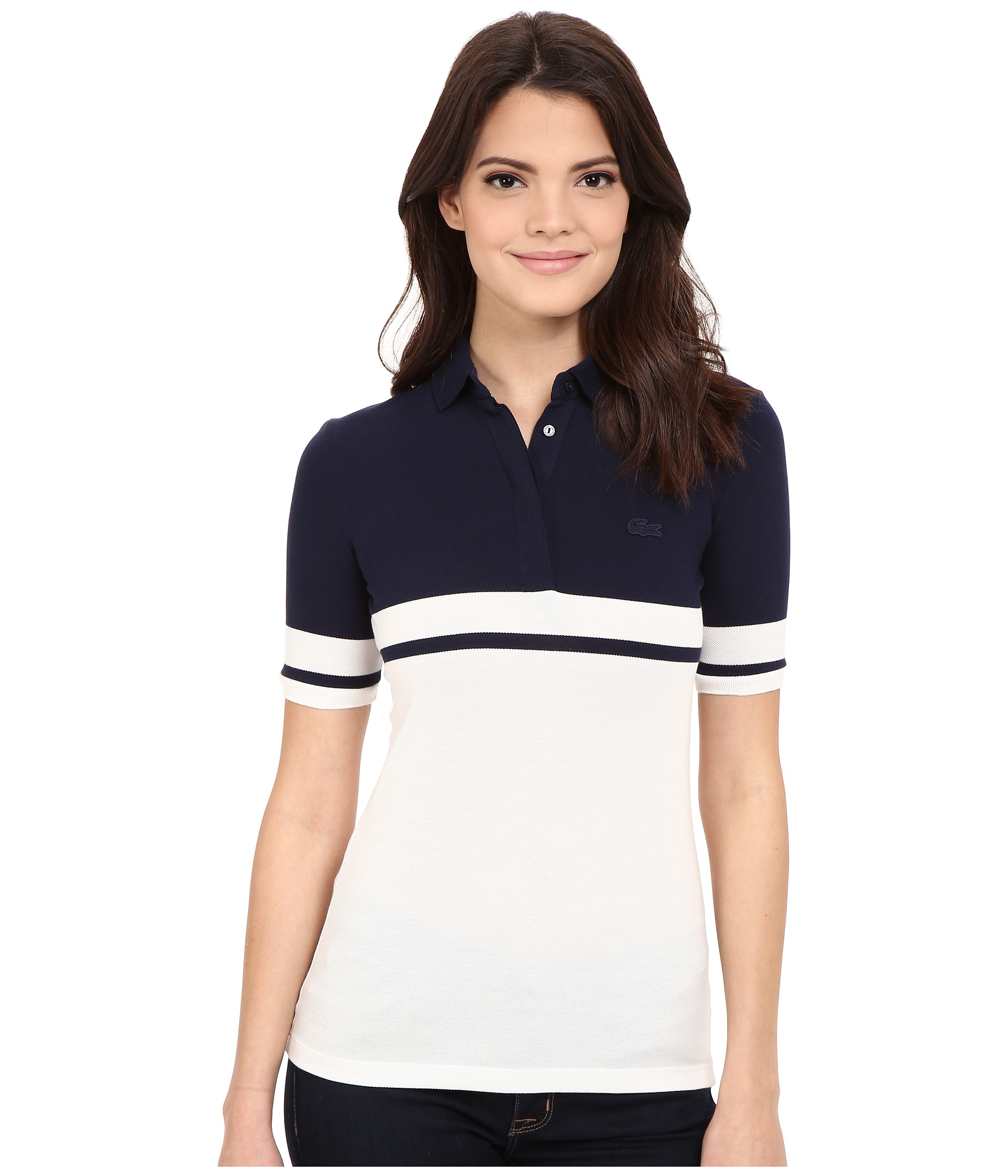 Lacoste half sleeve color block polo shirt navy blue cliff for Polo color block shirt