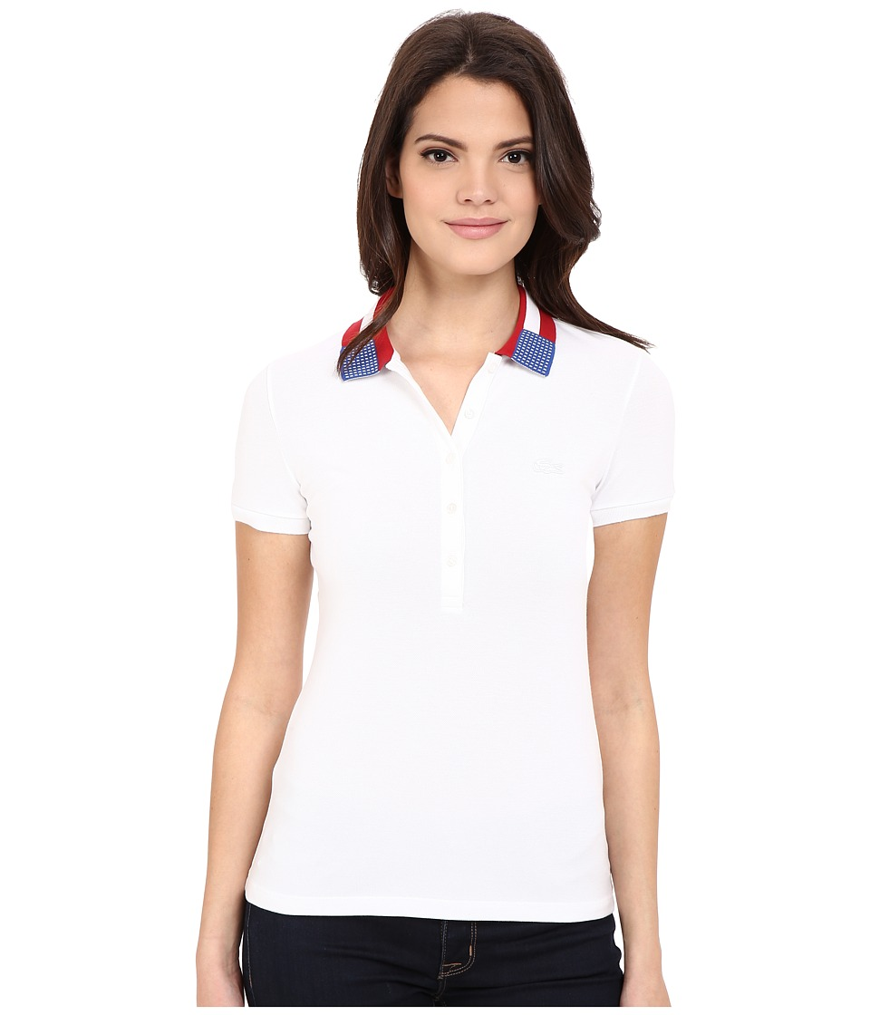 Lacoste - Short Sleeve Slim Fit Nations Polo Shirt (White) Women