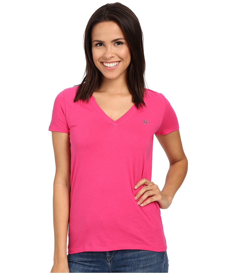 Lacoste Short Sleeve Cotton Jersey V Neck Tee Shirt Bright Berry Pink Womens Short Sleeve Pullover