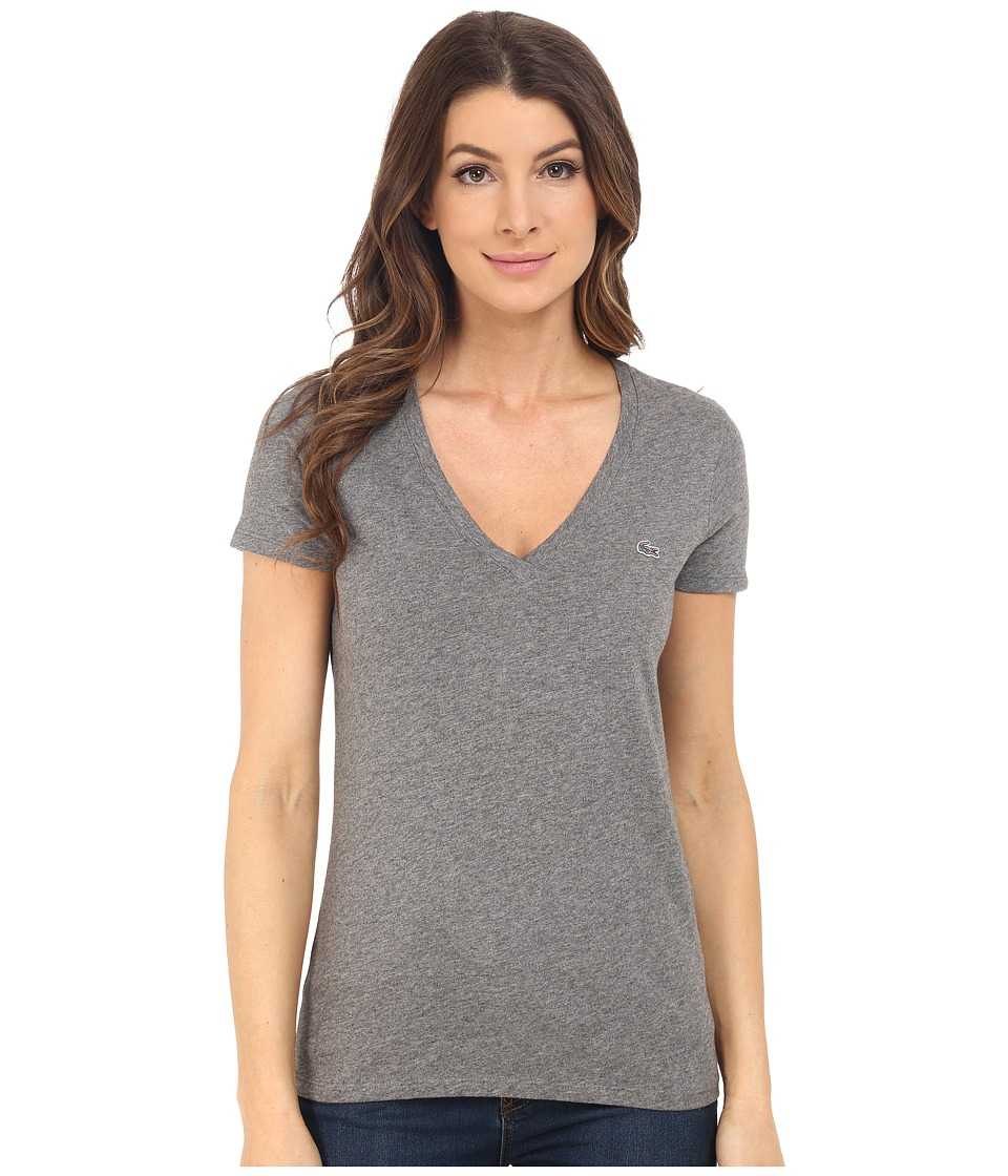 Lacoste - Short Sleeve Cotton Jersey V-Neck Tee Shirt (Stone Grey) Women