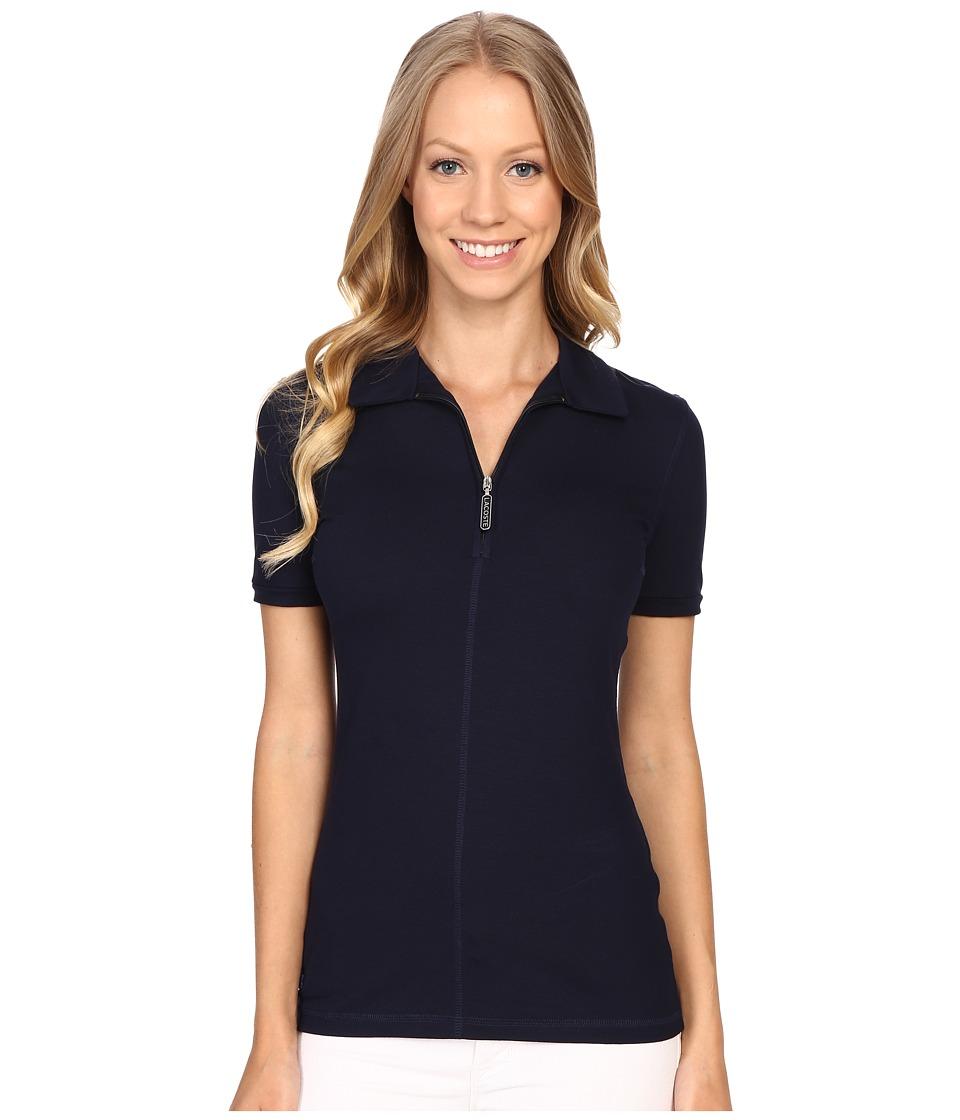 Lacoste - Short Sleeve Stretch Jersey Zip Polo (Navy Blue) Women