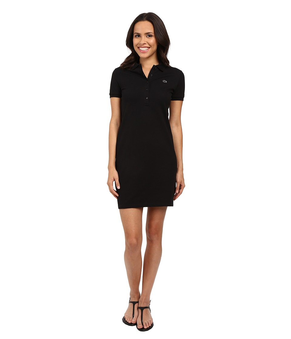 Lacoste Short Sleeve Pique Polo Dress Black Womens Dress
