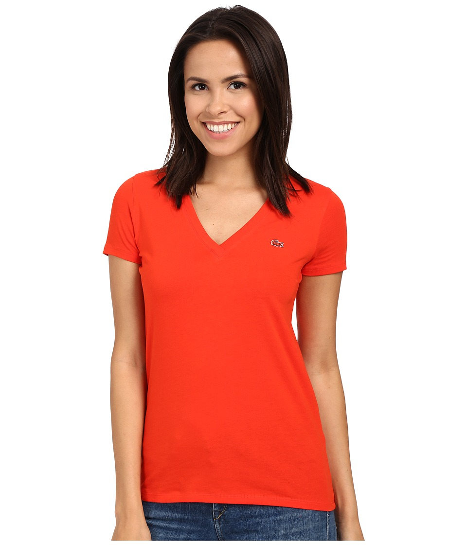Lacoste Short Sleeve Cotton Jersey V Neck Tee Shirt Lust Red Womens Short Sleeve Pullover